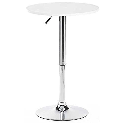 Displays2go Height Adjustable Bar Table, White