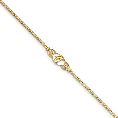 (Bonyak Jewelry 14k Polished Dolphin Anklet in 14k Yellow Gold)