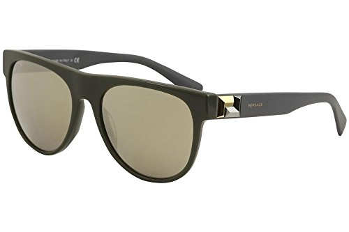 Versace  Men's VE4346 Green/Light Brown Mirror Gold One - Glasses Versace Case