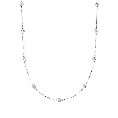 Ross-Simons 1.00 ct. t.w. Bezel-Set Diamond Station Necklace in 14kt White ()
