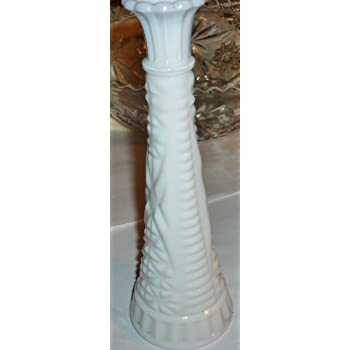 Amazon Vintage White Milk Glass Bud Vase 9 Tall Raised Pattern