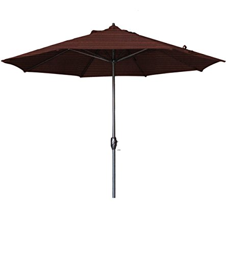 California Umbrella 9' Round Aluminum Market Umbrella, Crank Lift, Auto Tilt, Bronze Pole, Terrace Adobe Olefin