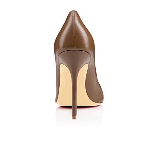Aiguille Escarpins Chaussures Bout Ubeauty Talon Marron Femmes Rond Taille Stiletto Grande 0nwnPxa