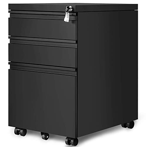 Locking File Cabinet, 3 Drawer Rolling Metal Filing Cabinet,Office Pedestal, Fully Assembled Except Casters (Black)
