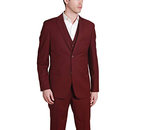 - Caravelli Men's 60509 3-Piece Single Breasted Slim Fit Vested Suit. Burgundy - 36S