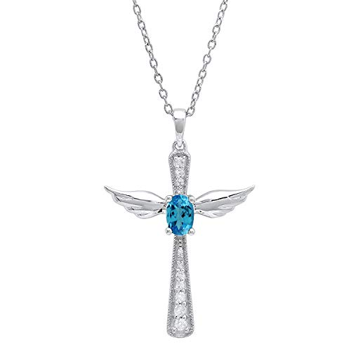 - Dazzlingrock Collection 6X4 MM Oval Blue Topaz & Round Diamond Angel Cross Pendant, Sterling Silver