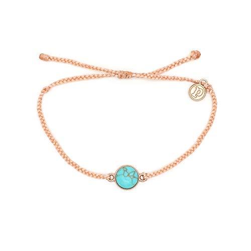 Pura Vida Rose Gold Riviera Stone Blush Bracelet - Waterproof, Artisan Handmade, Adjustable, Threaded, Fashion Jewelry for Girls/Women (Bracelets And Mens Womens)
