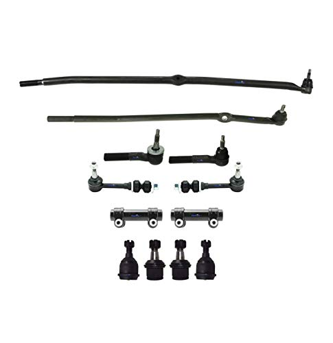 PartsW 12 Pc New Steering Kit for Dodge Ram 2500 and Dodge Ram 3500 / Tie Rod Linkages, Adjusting Sleeves, Upper & Lower Ball Joints, Front Sway Bar End Link