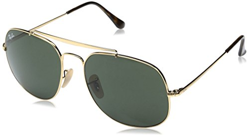 Ray-Ban RB3561 The General Square Sunglasses, Gold/Green, 57 mm (3561 Ban Ray)