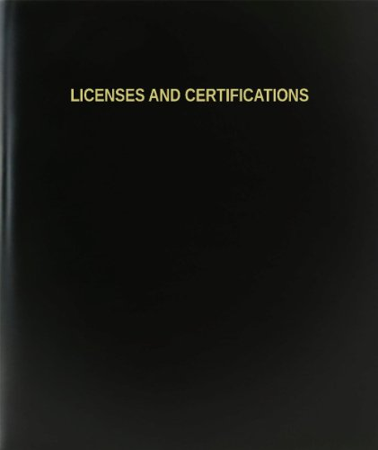 """BookFactory® Licenses And Certifications Log Book / Journal / Logbook - 120 Page, 8.5""""x11"""", Black Hardbound (XLog-120-7CS-A-L-Black(Licenses And Certifications Log Book))"""