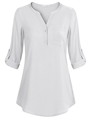 Messic Women's V-Neck Blouses 3/4 Roll-up Sleeve Button Casual Chiffon Tunic Shirt (XXX-Large, White) (3/4 Sleeve Shirt Sport Long Sleeve)