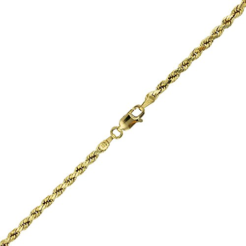 14k Yellow Gold Diamond Cut Hollow Rope 3.50MM 025 8'' Bracelet by Decadence