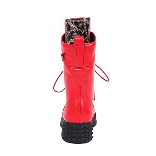 Bas Lacet Fermeture Rouge Bottes Femme Aalardom Jambe tsfxh115264 De D'orteil Talon À x168ItwqIn