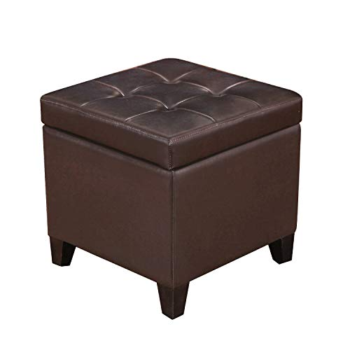 Joveco Brown Bonded Leather Button Tufted Small Square Storage Ottoman (Brown)