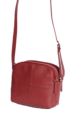 Cross Top Womens Leather Real Pockets Red Sling Multi Soft Bag Shoulder Small Body A939 Zip Bag rf8Fwrtxq