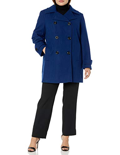 Anne Klein Women's Classic Double Breasted Coat Plus Size, Blue Print, 1X