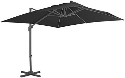 アルミポール付きカンチレバー傘300x300 cm無煙炭ホームガーデン芝生ガーデン屋外生活屋外傘サンシェード