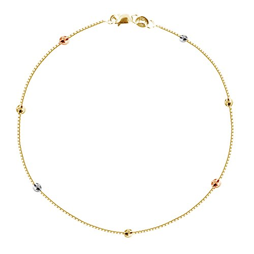 Ritastephens 14k Yellow Gold Box Tri-color Diamond-cut Bead Station Foot Chain Anklet