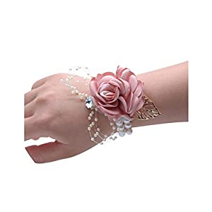Girls Bridesmaid Wrist Flowers Wedding Prom Party Corsage Bracelet Fabric Hand Flowers Wedding Supply Accessories 6C2823 17