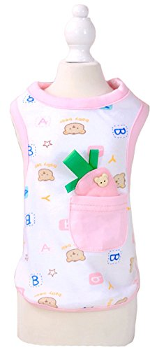 MaruPet Puppy Spring Summer Jumpsuit Cotton Sweety Carrot Vest with Pocket for Small, Extra Small Dog Teddy, Pug, Chihuahua, Shih Tzu, Yorkshire Terriers, Papillon Pink XL -