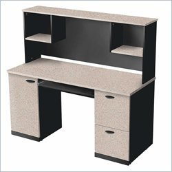 Bestar Furniture 69450-3186 Hampton Credenza and Hutch with Simple Pulls in Sand Granite and - Bestar Charcoal
