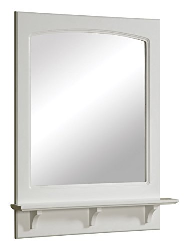 24 by 31 inches Concord Ready-To-Assemble Mirror with Shelf, White (Framed Bathroom Vanity Decorative Mirror)