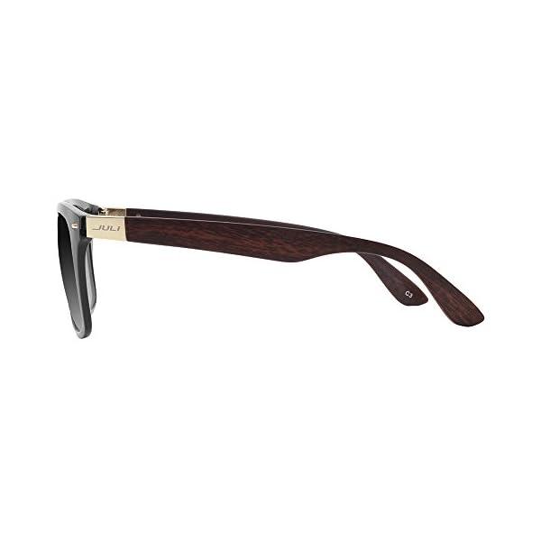 JULI Mens Womens Fashion Wayfarer Wood Bamboo Printed Black Frame Black Lens Wrap 52MM Sunglasses 4195WN