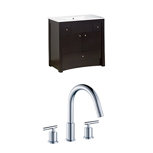 American Imaginations 36-in x 18.5-in. 36-in. W x 18.5-in. D Birch Wood-Veneer Vanity Set In Distressed Antique Walnut With 8-in. o.c. CUPC Faucet AI-10771 85%OFF