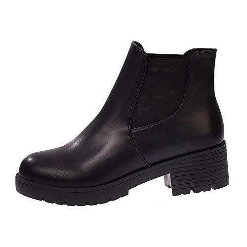 Medio Botas Salvaje Moda Cortas de Plus Otoño Botas Grueso Negro KOKQSX black Invierno 36 Tacon 37 Tacon Estudiante 0qwxBRA