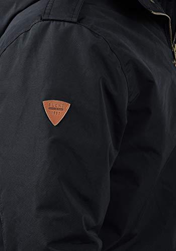 Avec De Pour Peau Dark Capuche 74645 nbsp;peluche Veste Navy Manteau Doublure Blue D'hiver Longue Blend Parka Mouton À De Ebong Homme tvZqwwIxf