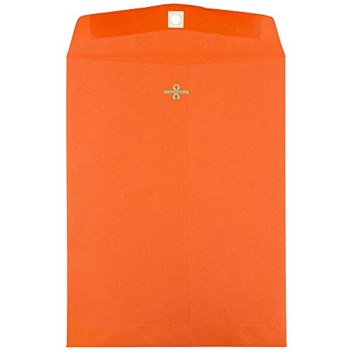 JAM PAPER 9 x 12 Colored Envelopes with Clasp Closure - Orange Recycled - 100/Pack