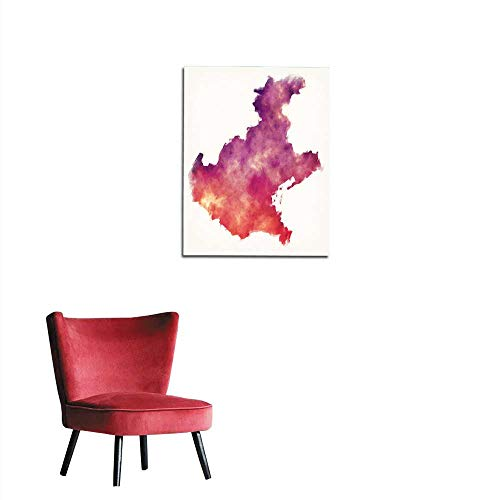 longbuyer Art Decor Decals Stickers Veneto Region Watercolor map of Italy in Front of a White Background Mural 16