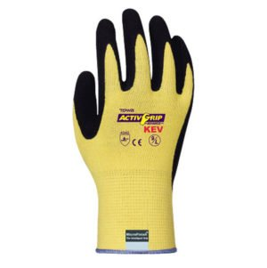 AG591 Activgrip Kev Coated Machine Knit Glove - Small - 13 gauge Kevlar shell black MicroFinish nitrile palm coating CE/EN388:4342 ANSI cut level A2 | 12 Pairs