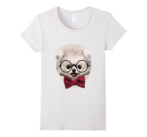 Womens T-Shirt, Smart White Fluffy Pomeranian Puppy, Bow ...