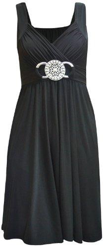 Übergröße Schnalle Damen Gürtel mit Raffhalter, knielanges Abendkleid Partykleid (DE) (24/26), Schwarz