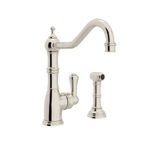 Rohl U.4746PN-2 Perrin and Rowe Single Hole Single Lever Aquitaine Kitchen Faucet with Sidespray Rinse, Polished Nickel