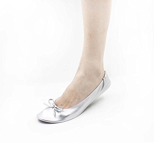 MR.SWEETIE Womens Wedding Gift Foldable Portable Flexable Outsole Roll Up Ballet Flat Shoes (Small, Silver) by MR.SWEETIE