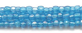 (Preciosa Ornela Czech 3-Cut Style Seed Glass Bead, Size 9/0, Aurora Borealis Transparent Dark Aqua Blue)