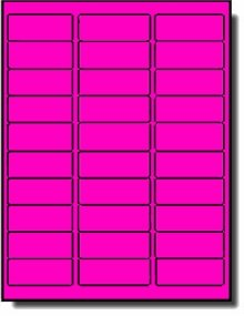 "600 Label Outfitters 1"" x 2 5/8"" Fluorescent Neon Pink Address Labels – 20 Sheets ()"