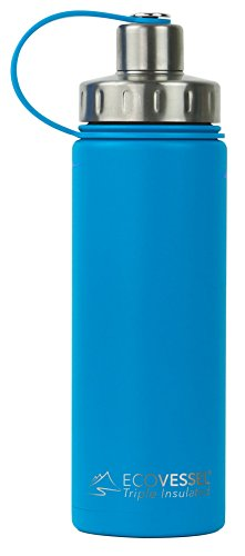 Blue Boulder (EcoVessel BOULDER TriMax Dual Opening Insulated Stainless Steel Water Bottle with Tea - Fruit and Ice Strainer - 20 oz. - Hudson Blue)