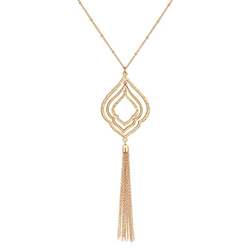 Drop Statement Pieces - YOUMI Long Tassel Pendant Y Necklace Hollow Out Layered Rhombus Leaf Drop Necklace Lariat Chain Jewelry for Women (Gold)