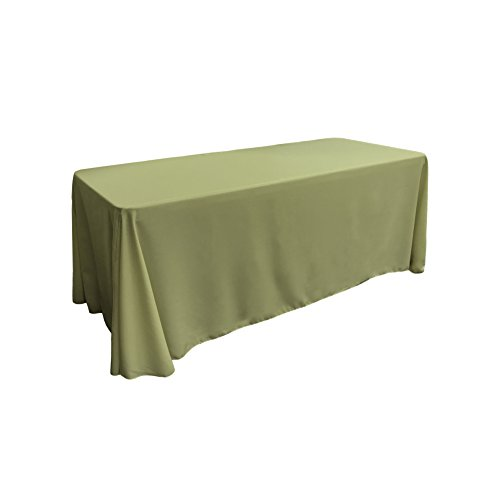 LA Linen Polyester Poplin Rectangular Tablecloth, 90 by 132-Inch, Sage Dark (Sage Polyester Tablecloth)