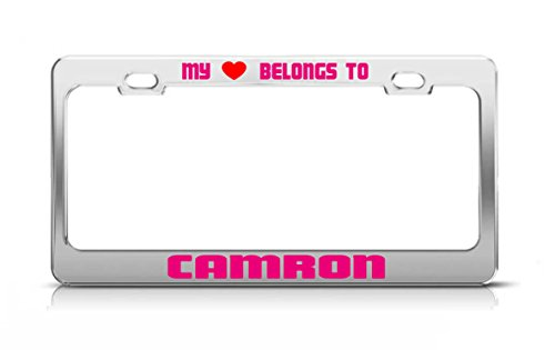 MY HEART BELONGS TO CAMRON Male Boy Names License Plate Frame Metal Chrome