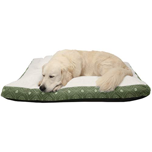 FurHaven Pet Dog Bed | Deluxe Faux Sheepskin & Flannel Paw Décor Pillow Pet Bed for Dogs & Cats, Jade Green, Jumbo ()
