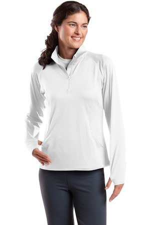 Sport-Tek Ladies Sport-Wick Stretch 1/2-Zip Pullover, White,