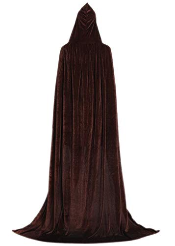 ALIZIWAY Hooded Cloak Full Long Velvet Cape for Halloween Cosplay Costume Cloak Coffee 06CL