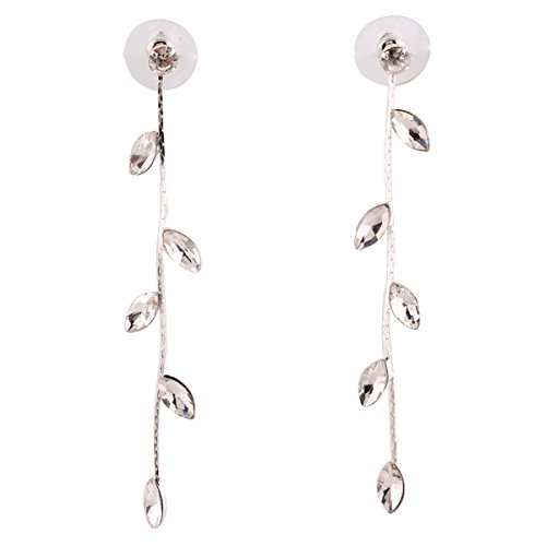 (Grace Jun Silver Plated CZ Rhinestone Long Tassel Drop Earrings and Clip on Earrings No Pierced for Women (Ear needle))