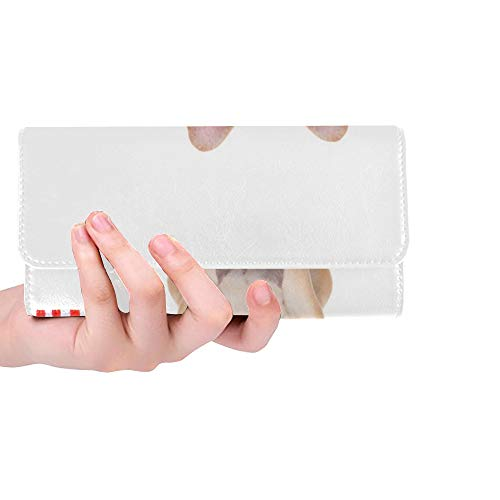 Unique Custom French Bulldog Holding Flag Usa On Women Trifold Wallet Long Purse Credit Card Holder Case Handbag