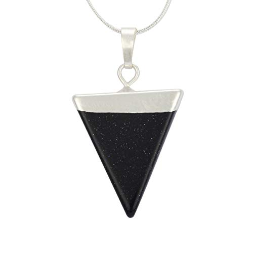 Natural Blue Sand Necklace Healing Crystal Reiki Chakra Triangle Cut 18-20 Inch Gemstone Pendant Necklace (1pc) Great Gift #GGP-A5 ()