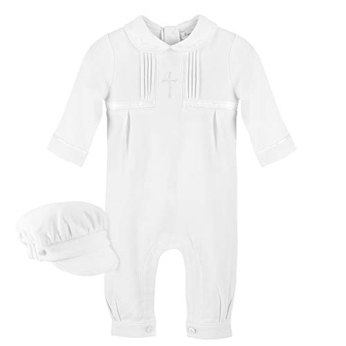 Carriage Boutique Baby Boy Elegant Christening Outfit with Hat (NB) White